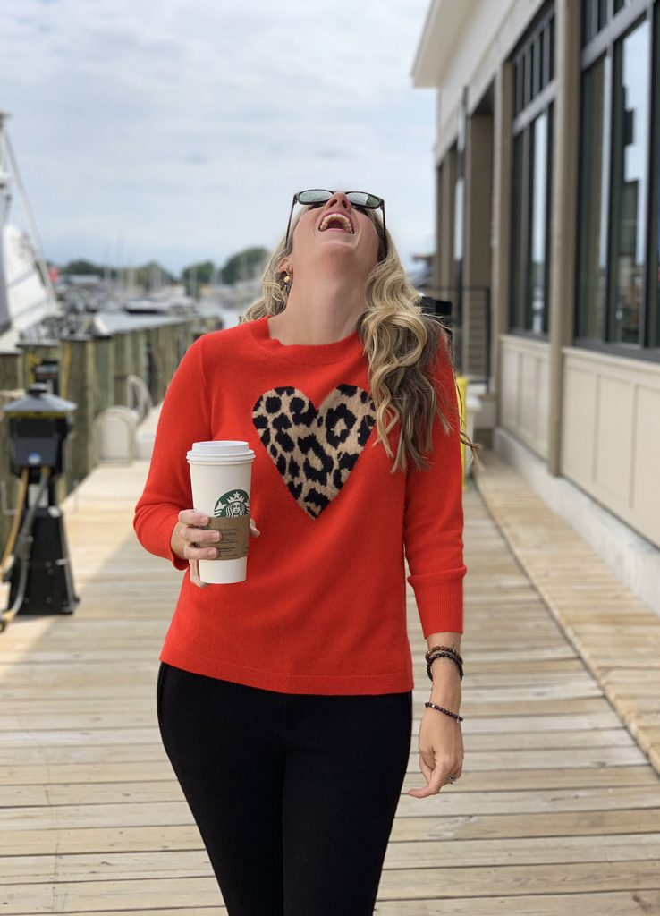 Laughing on a dock