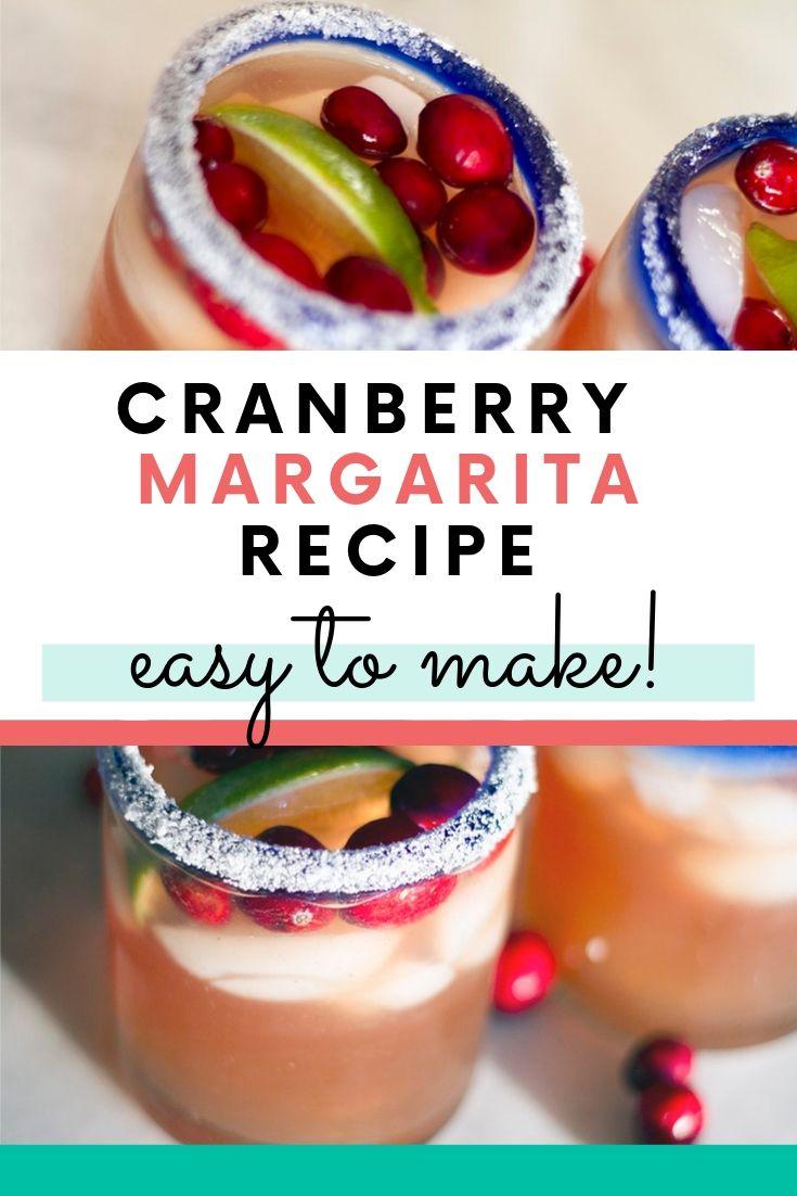 cranberry margarita in sugar rimmed clear glass