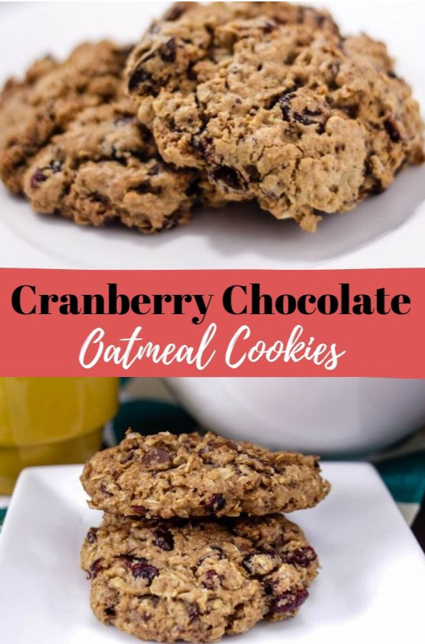 cranberry oatmeal cookies on white square plate