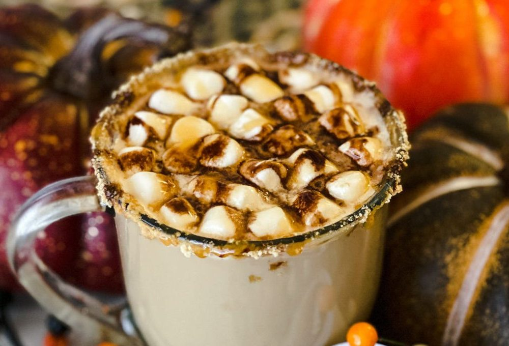 salted caramel latte drink with caramel drizzle and mini marshmallows