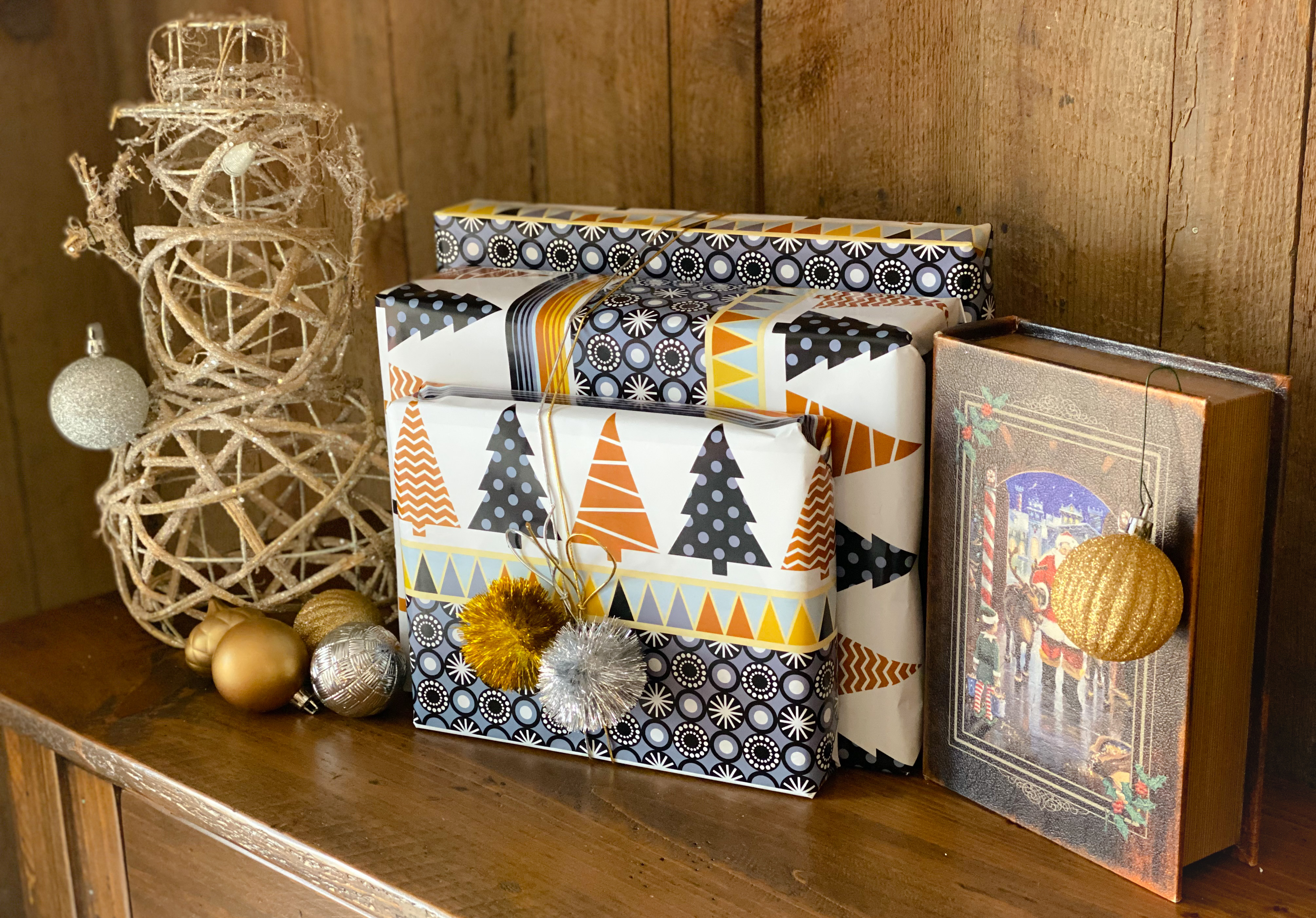 gold and navy rapped holiday packages