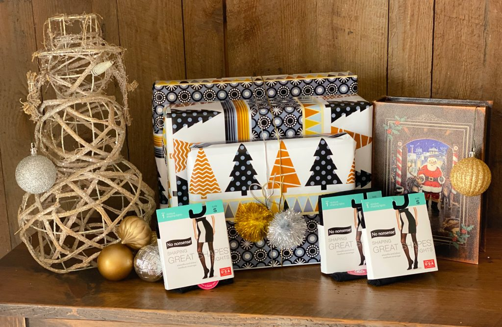 no nonsense with holiday gifts wrapped in gold and white paper