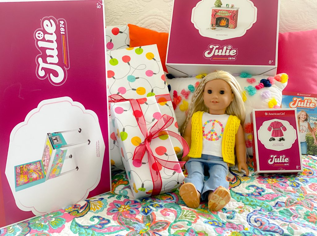 American Girl Julie holiday gifts with Julie doll, Julie Pinball Machine and Julie Faux Fireplace