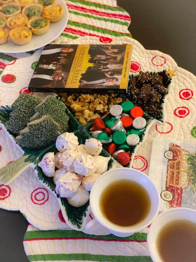 tea and snacks on polka dot placemats