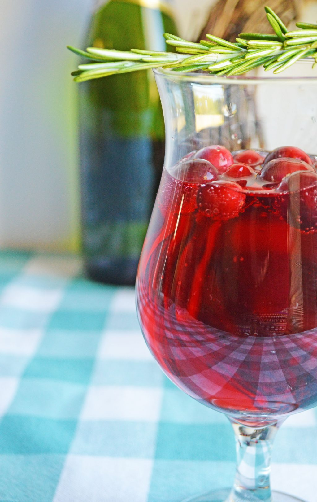 cranberry mimosa in clear glass
