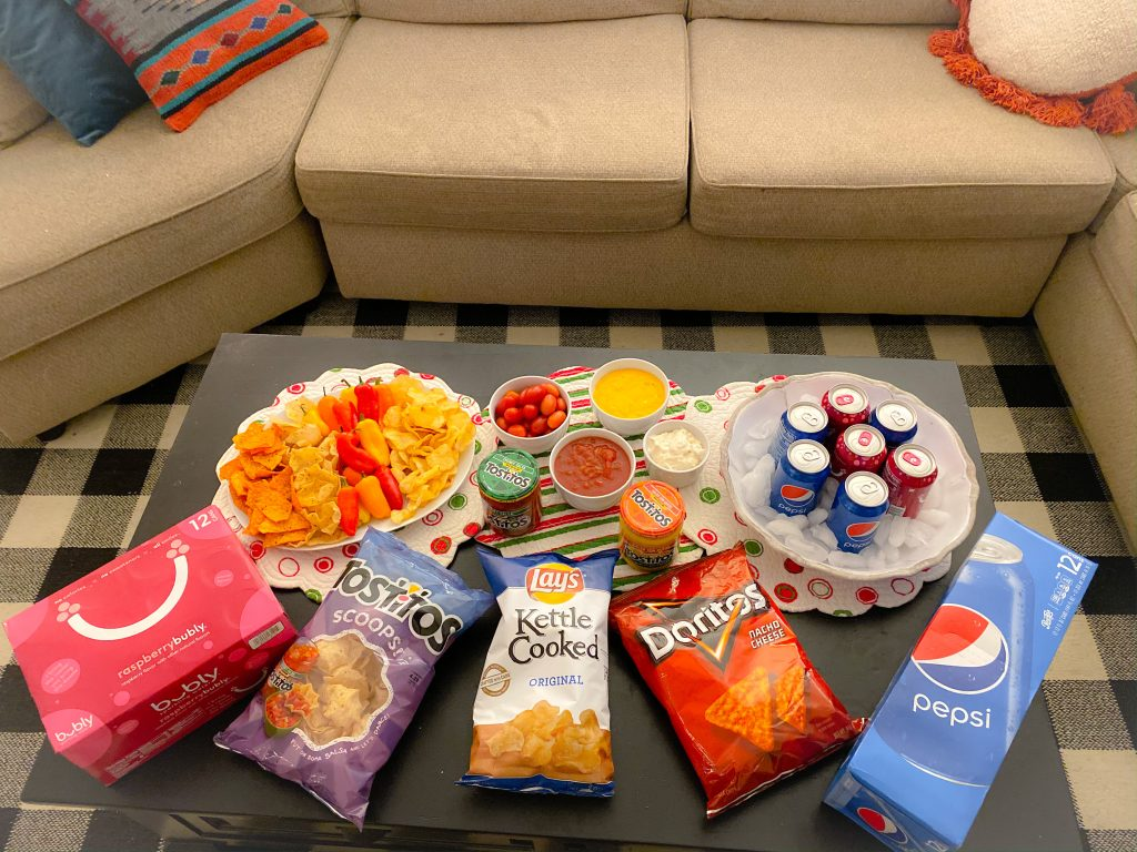 kettle chips, pepsi, bubly, tostitos and salsa