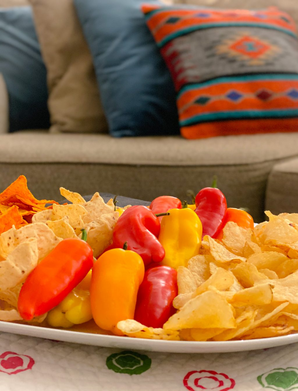 chips and peppers snack board