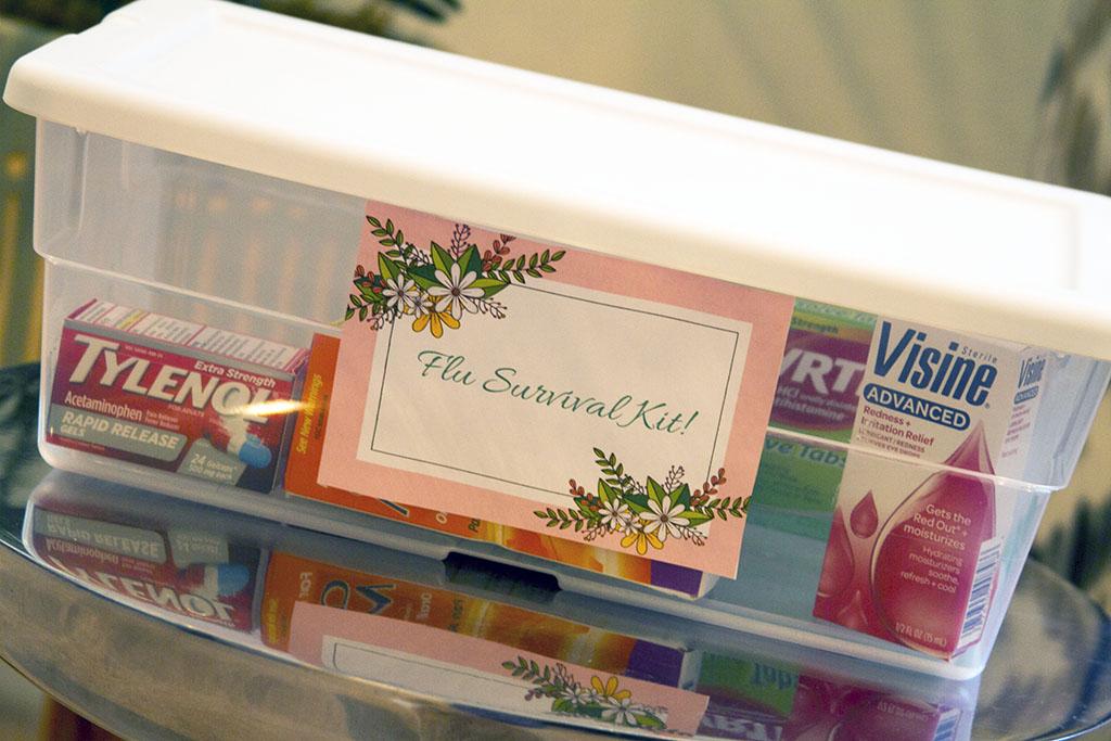 flu survival kit in clear bin with white lid