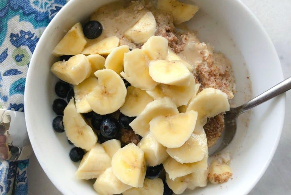 blueberry banana oatmeal in white bowl