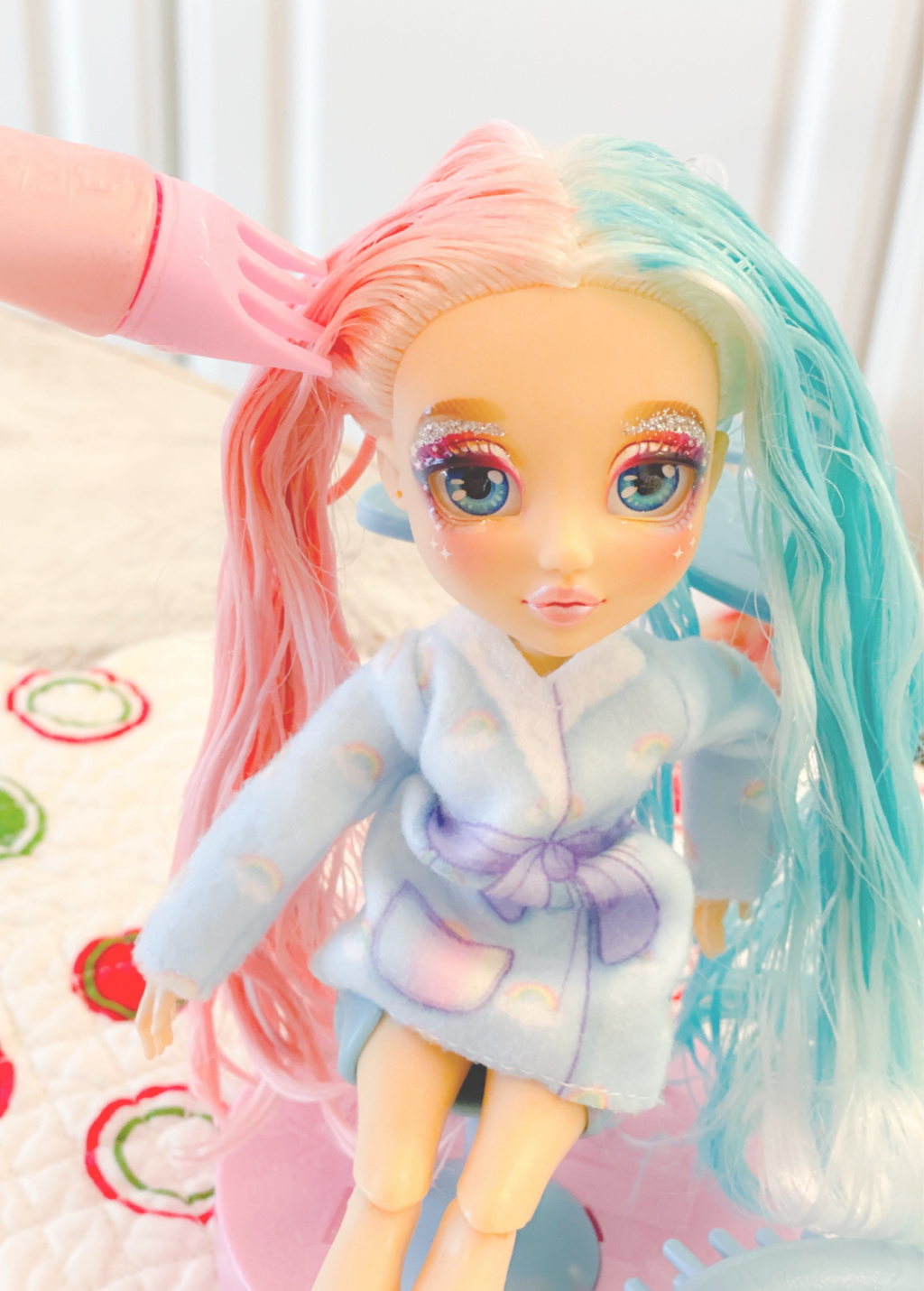 dying doll hair with pink and blue hair dye