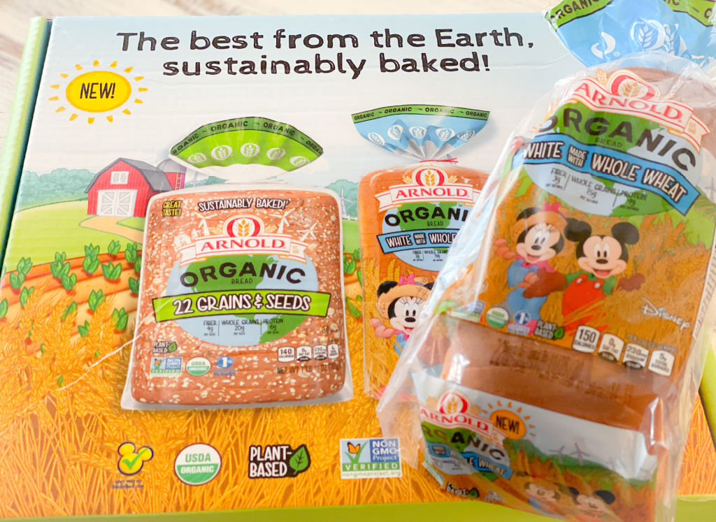 loaf of arnold's organic bread with mickey and minnie on plastic package